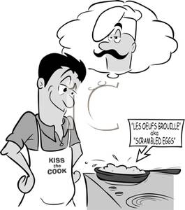 Daydreaming clipart black and white. A man cooking of