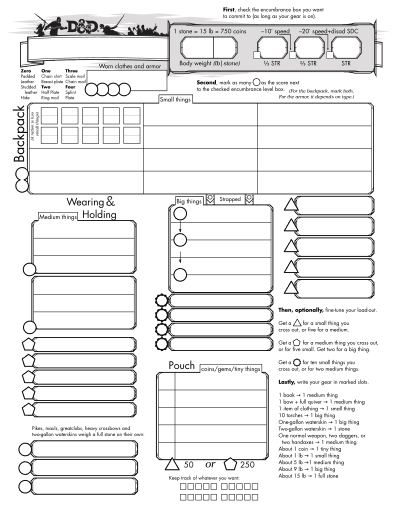 D&d 5e character sheet png. E inventory story