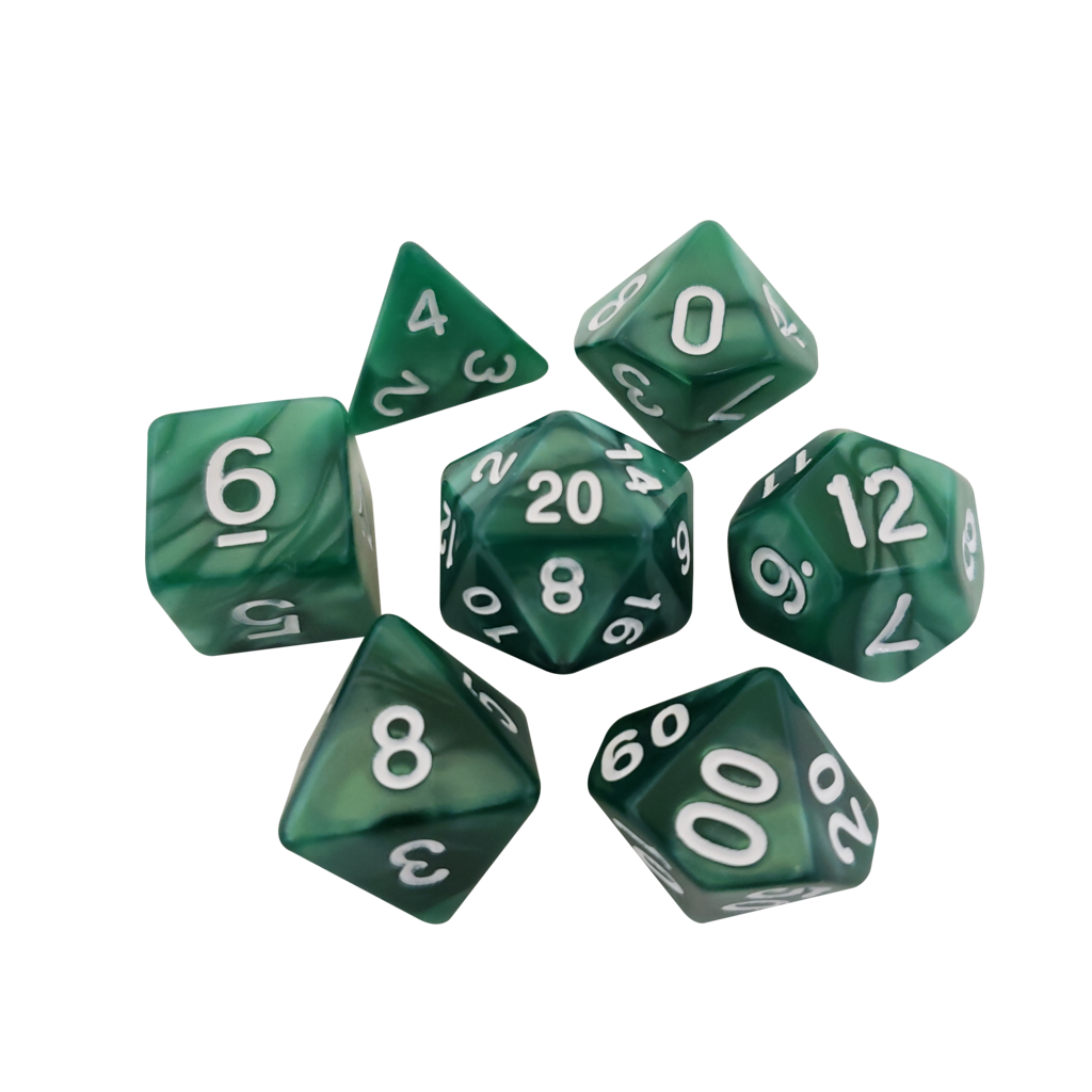 Green dice png. Marbled polyhedral rpg for