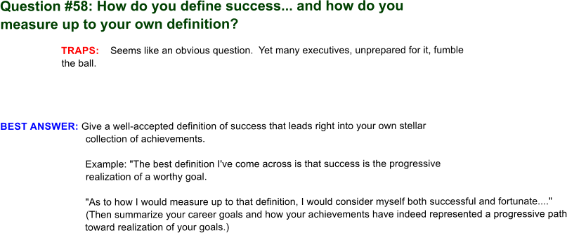 Ddefinition of success png. Answering interview questions question