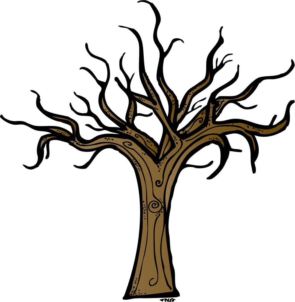 Dead clipart apple tree. Bare oak silhouette at