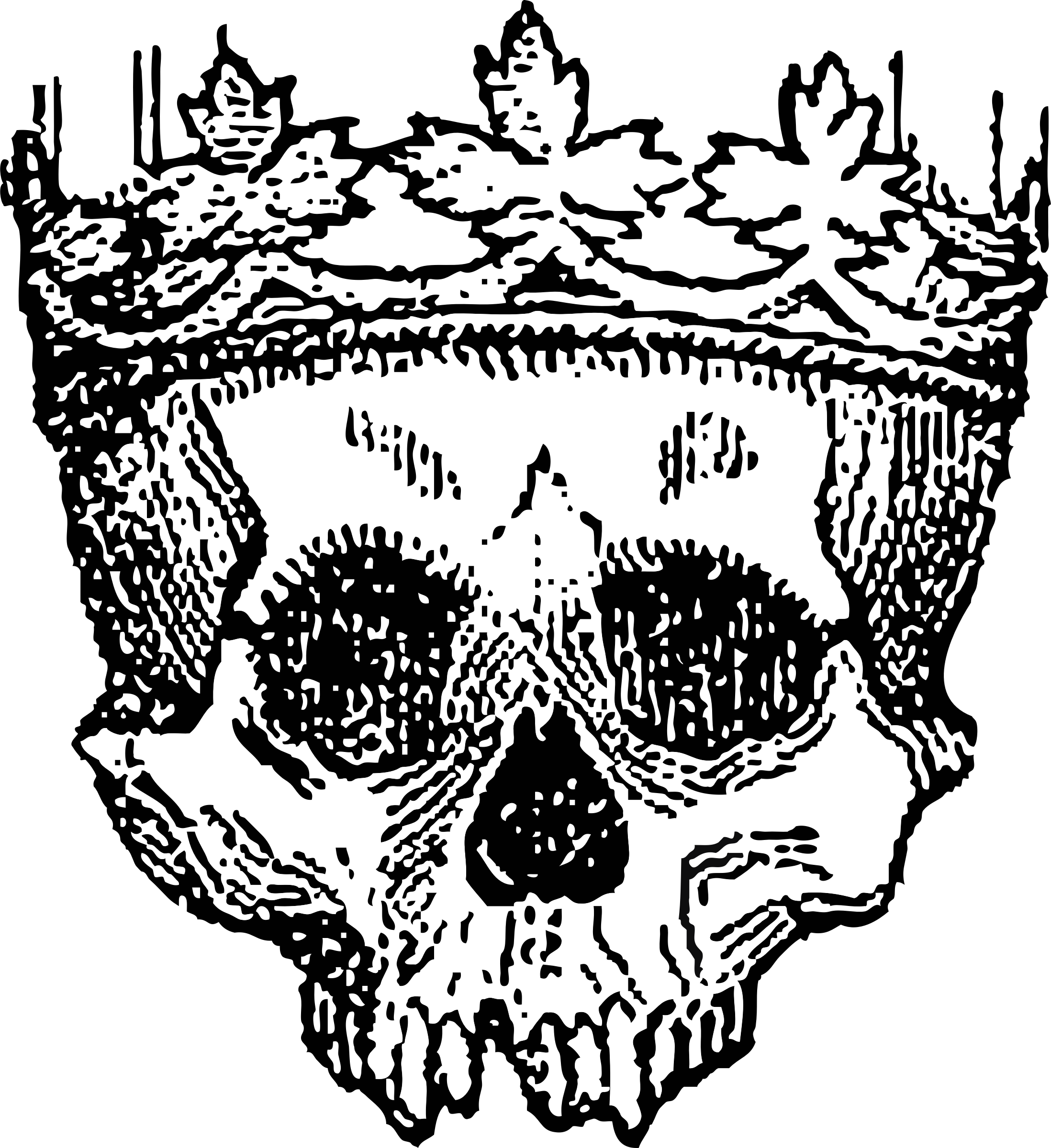 Etching drawing skull. Clipart king of the