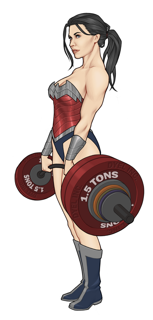 Deadlift drawing beast. Wonder woman getting my