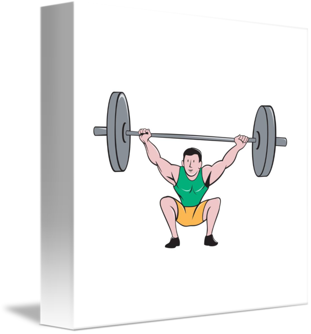 Deadlift drawing weightlifter. Lifting weights cartoon by