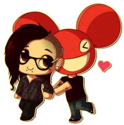 Deadmau5 drawing anime. Deadmau x skrillex chibi