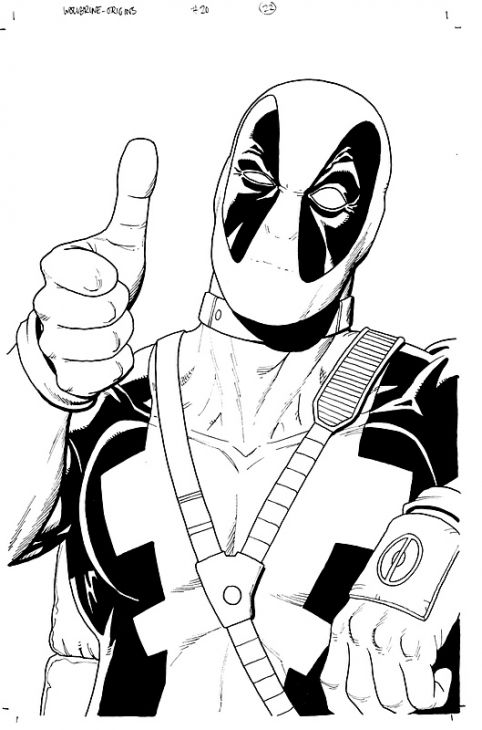 Deadpool clipart black and white. Best top coloring pages