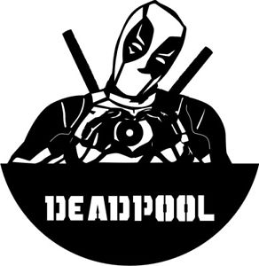 Deadpool clipart black and white. Dxf cdr file for