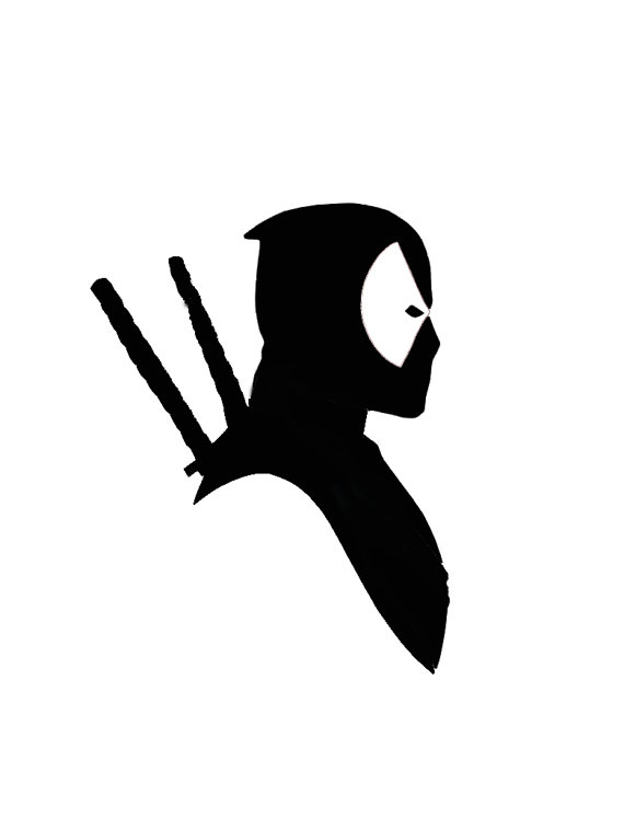 Deadpool clipart black and white. Silhouette at getdrawings com