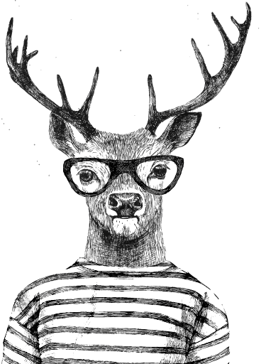 Dear drawing creative. Deer with antlers at