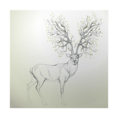 Dear drawing surreal. Deer with antler like