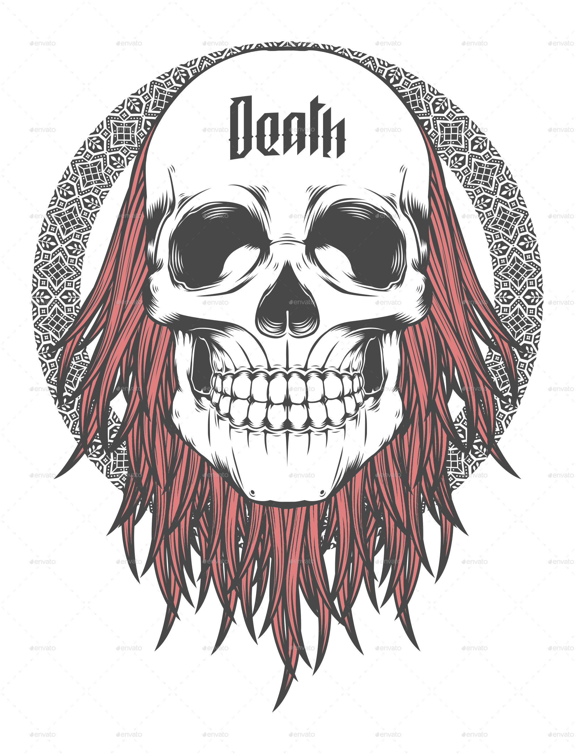 Death skull png. With red hair illustration