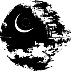 Deathstar vector. Death star silhouette of