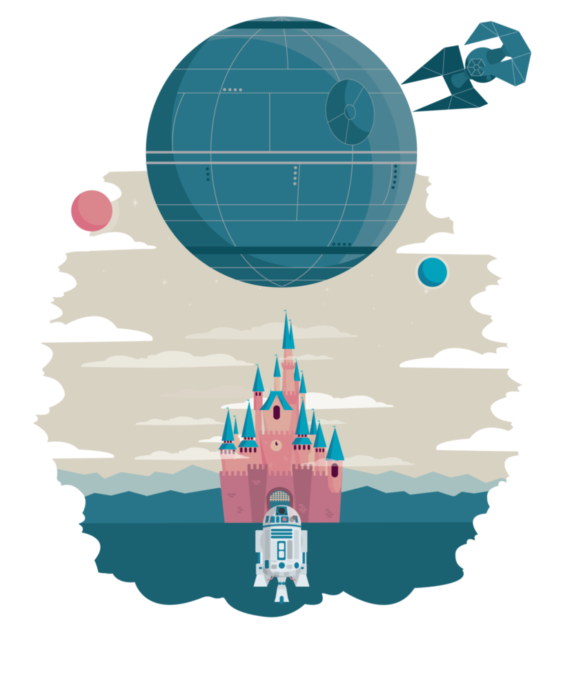 Disney and the death. Deathstar vector vector black and white