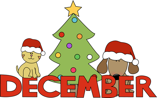 December clipart. Month of christmas pets