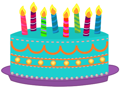 Drawing candles cake. Free december birthday cliparts