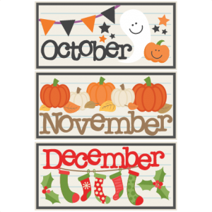 December clipart hello december. October november titles svg