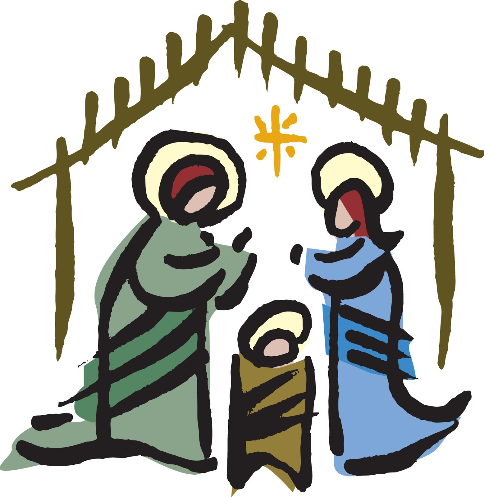 December clipart scene. Christmas nativity at getdrawings