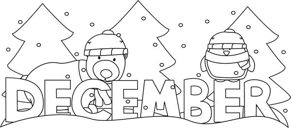 December clipart scene. Pleasurable design ideas black