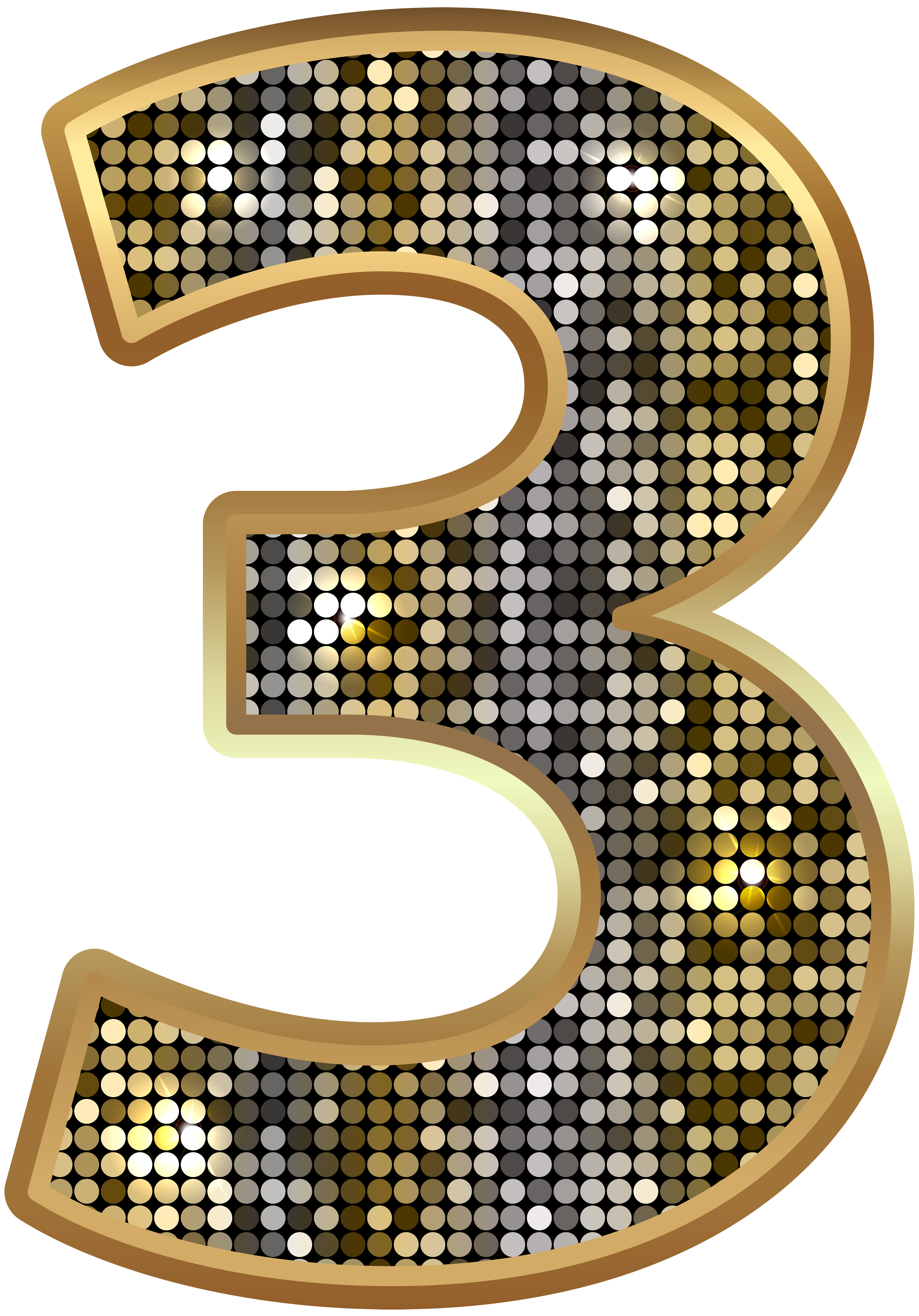 Deco bling numbers png. Number three gold clip