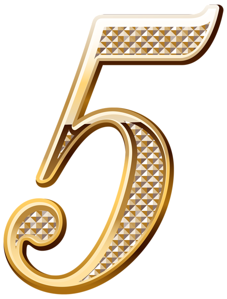Brass clip number. Gold deco five png