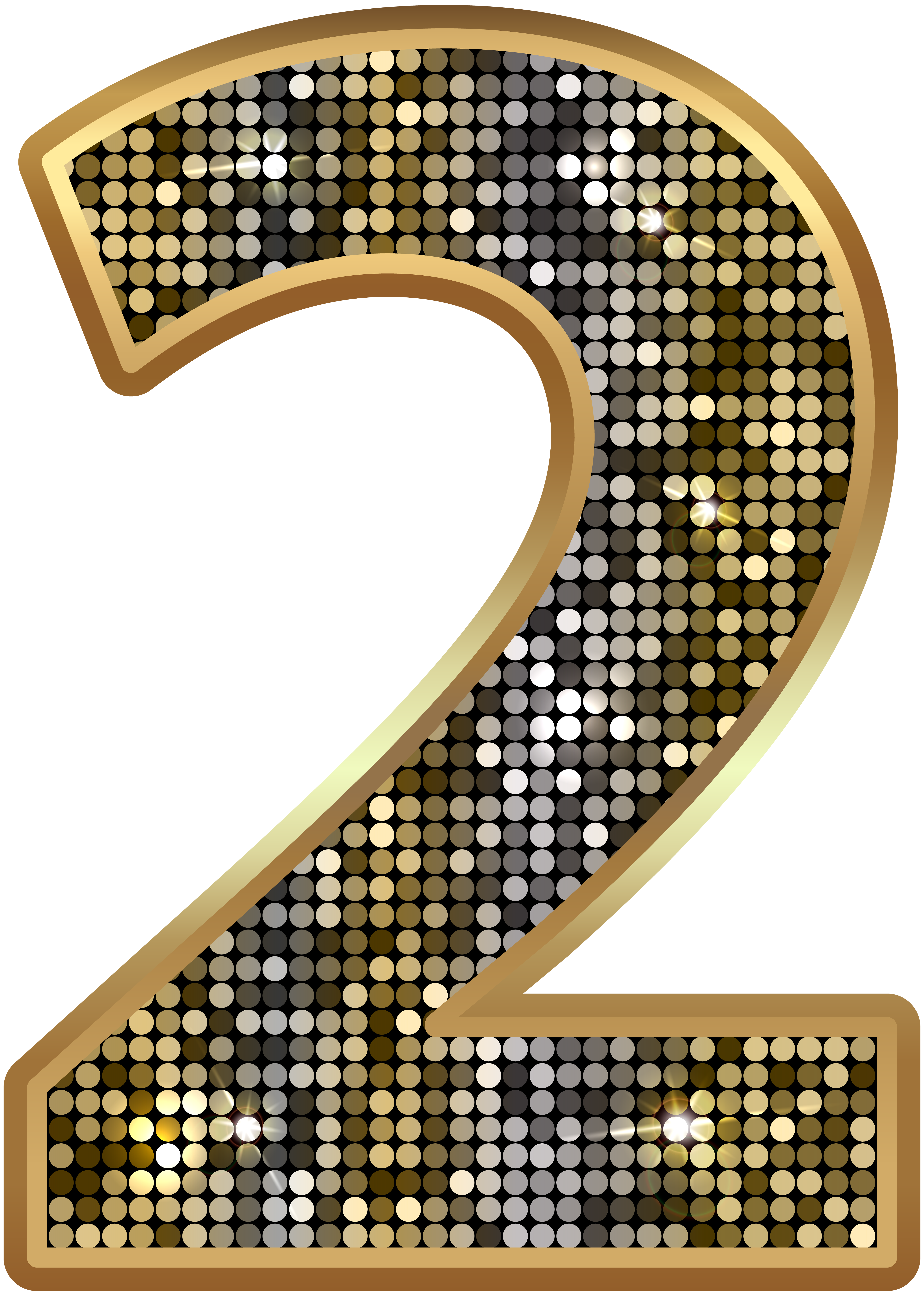 Deco bling numbers png. Number two gold clip