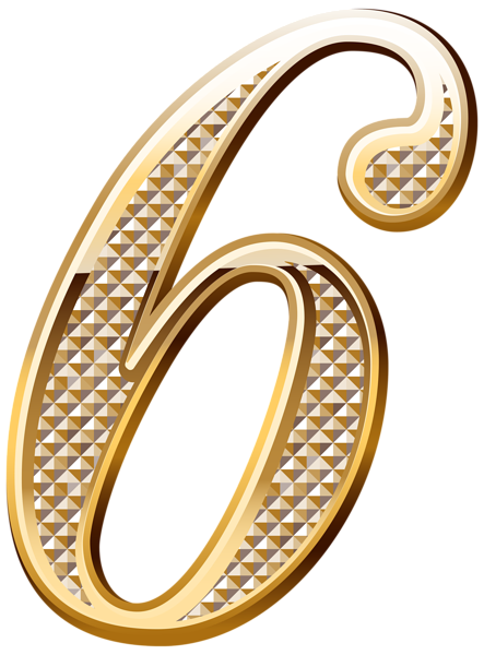 Deco bling numbers png. Gold number six clipart