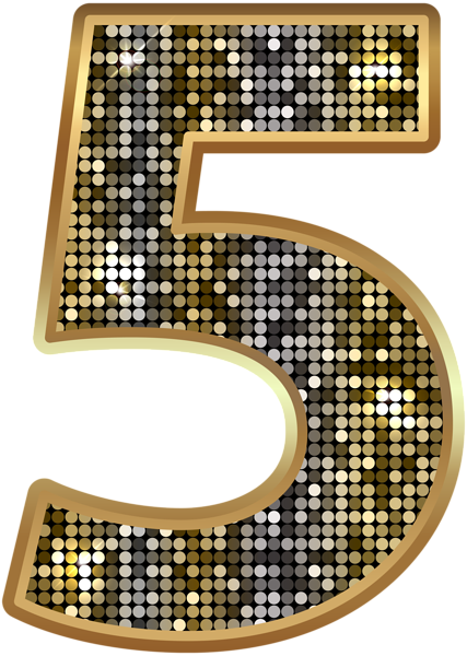 Deco bling numbers png. Number five gold clip