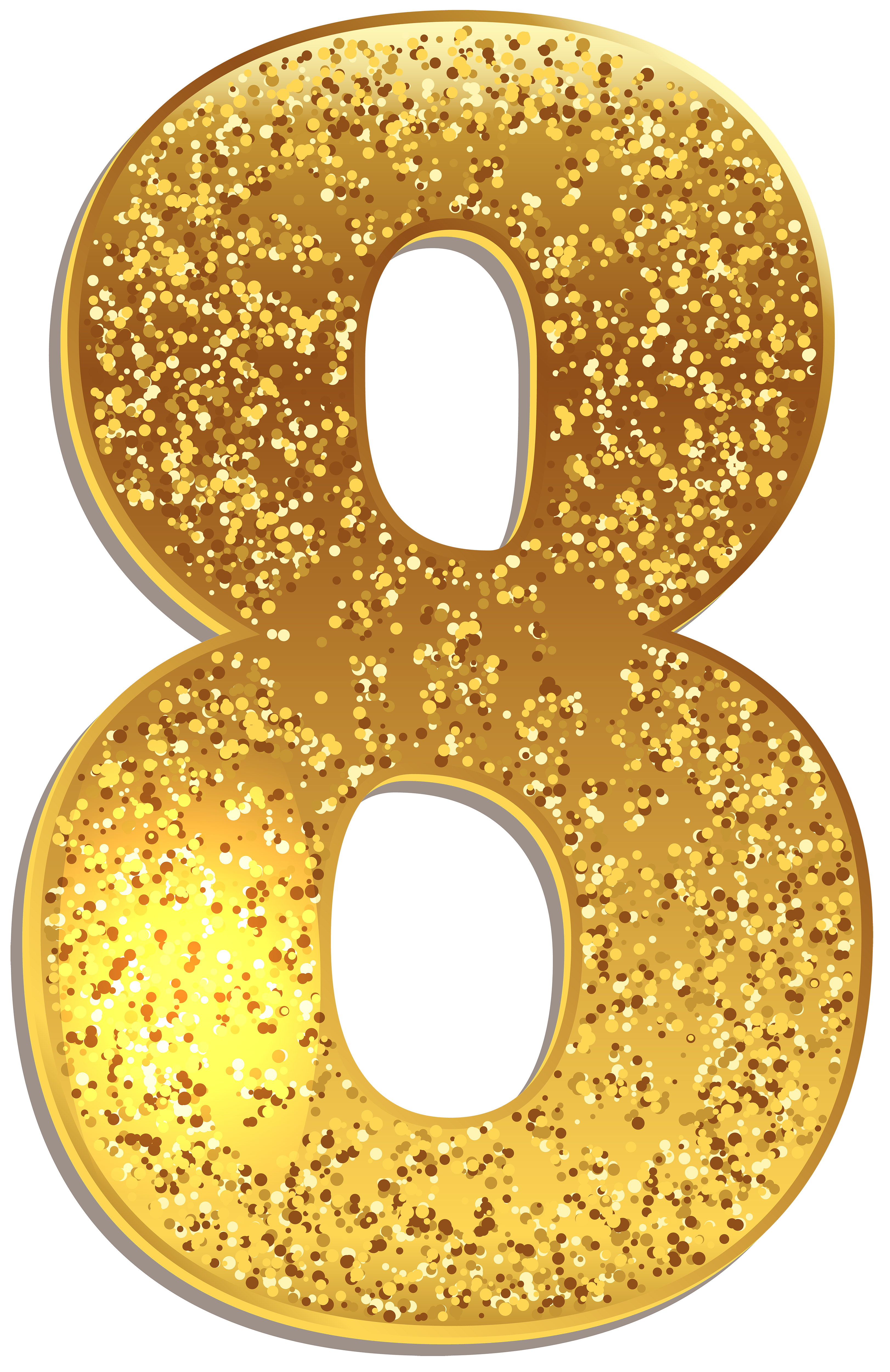 Deco bling numbers png. Number eight gold shining