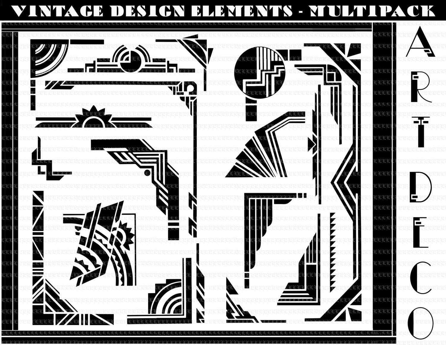 Deco clipart free printable. Art group borders design