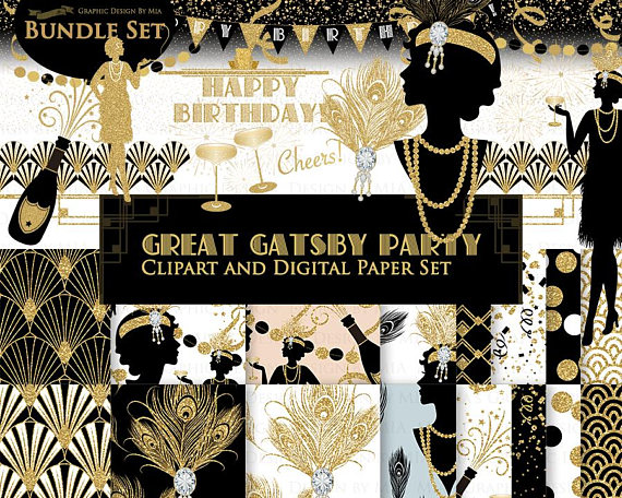 Deco clipart roaring 20. Great gatsby birthday party