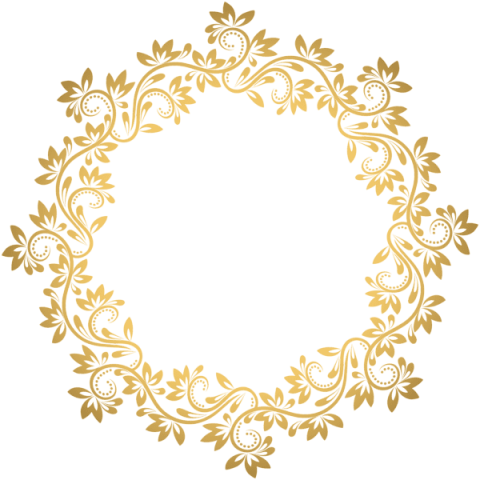 Round border png. Download gold deco clipart