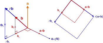 Decompose vector two vectors. Cross product wikipedia left