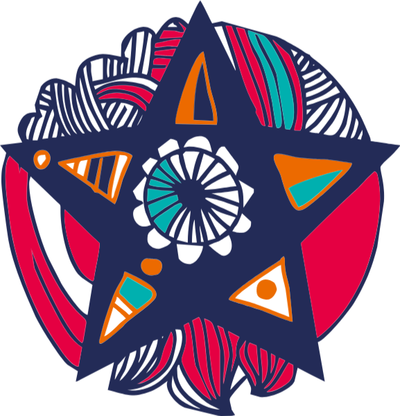 Vector pentagram color. Free online decoration abstract