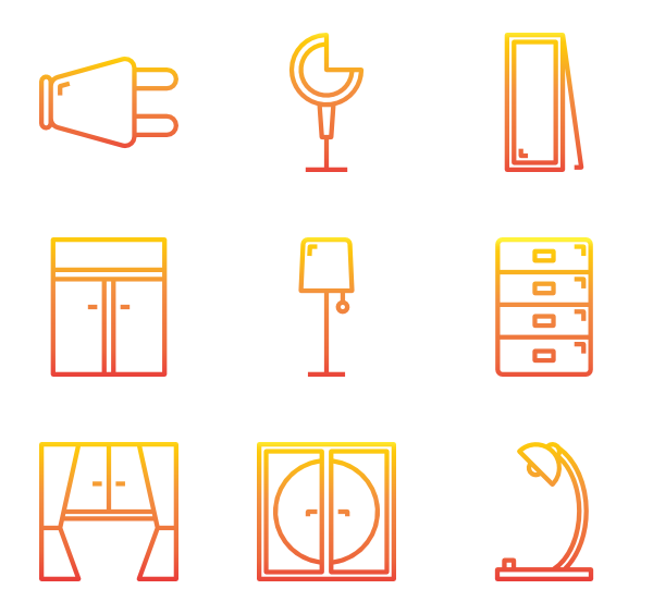 Decor vector font. Home icon packs