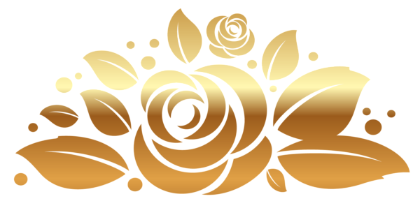 Decor vector golden ornament. Gold roses dream