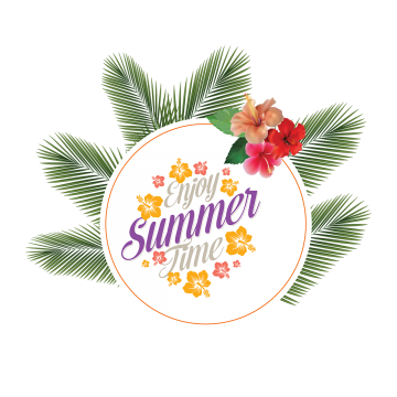 Labels vector summer. Badge stickers leaves decoration