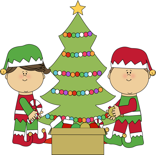Decorated christmas trees png. Elves decorating a tree