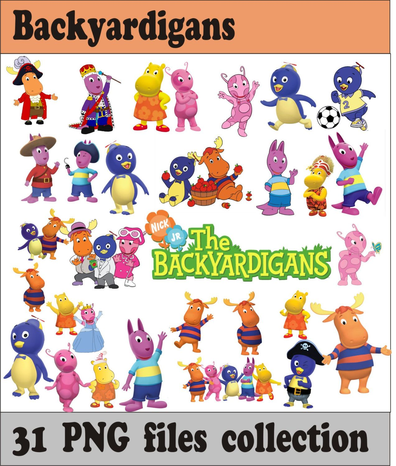 Decoration clipart party item. Backyardigans collection png vector
