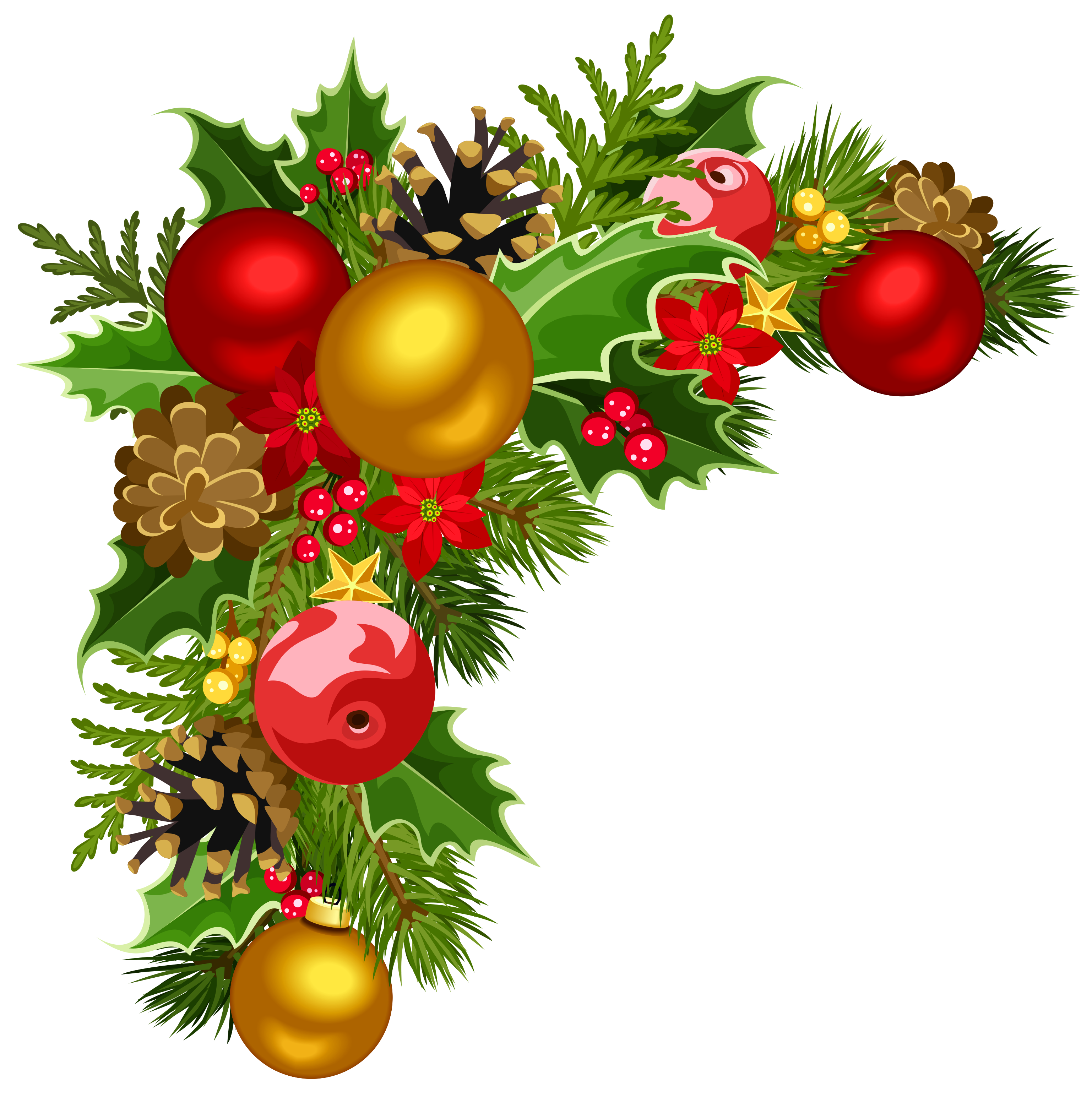 Christmas clipart corner. Deco with tree decorations