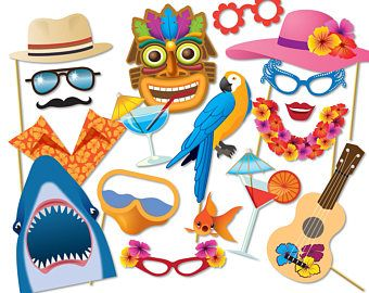 Decorations clipart party prop. Hawaiian photo booth props