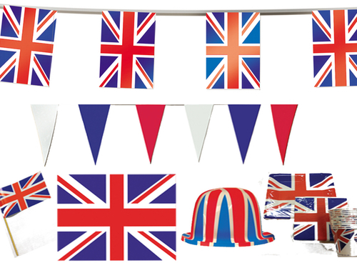 Decorations clipart street party. Uk british pack flag
