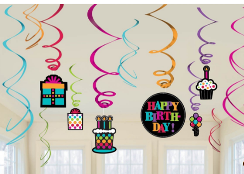 Decorations clipart street party. Amscan birthday on swirl