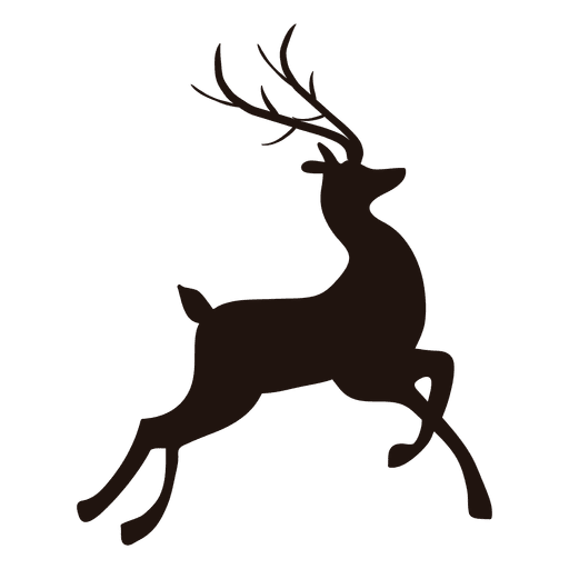 Deer antlers with bow silhouette png. Reindeer jumping transparent svg