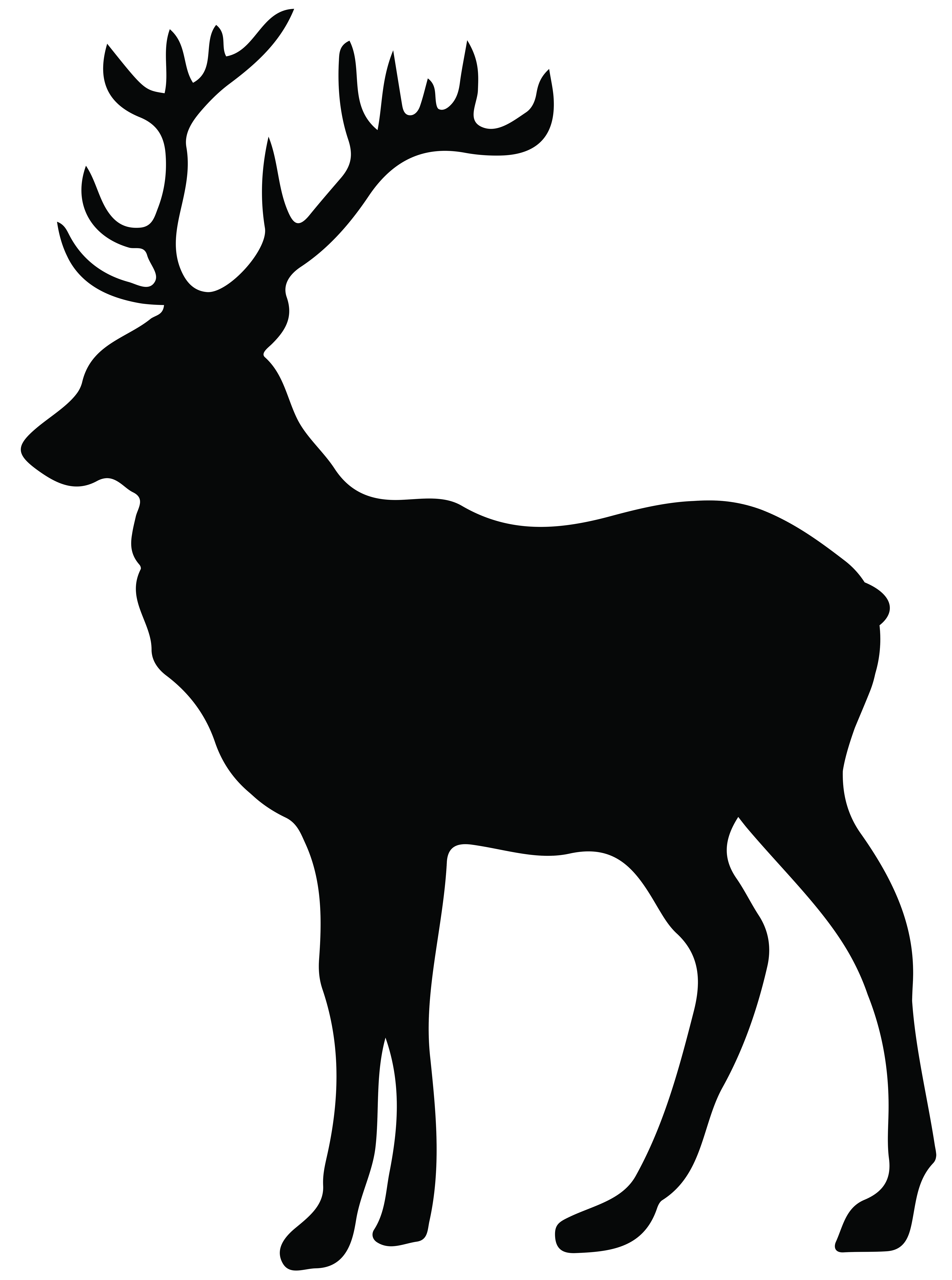 Stag transparent clip art. Deer antlers with bow silhouette png jpg free library