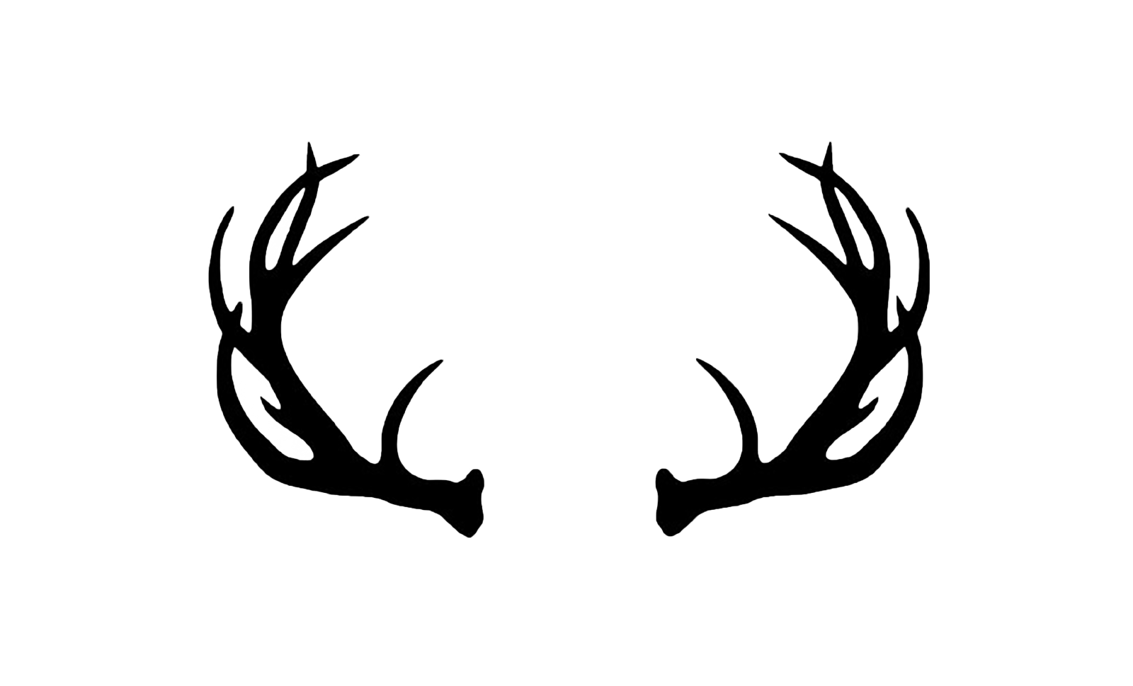 Antler logos. Deer antlers with bow silhouette png graphic stock