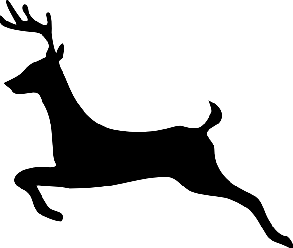 Stag vector doe. Flying reindeer silhouette deer