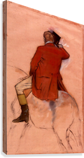 Degas drawing. Rider with red jacket