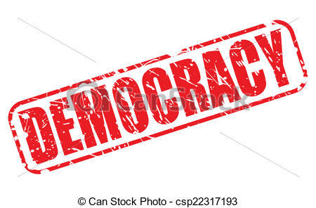 Democracy clipart. Red stamp text on banner black and white