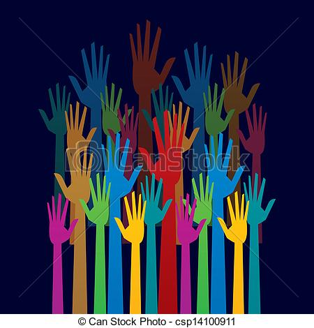 Colorful up hand concept. Democracy clipart clipart black and white library