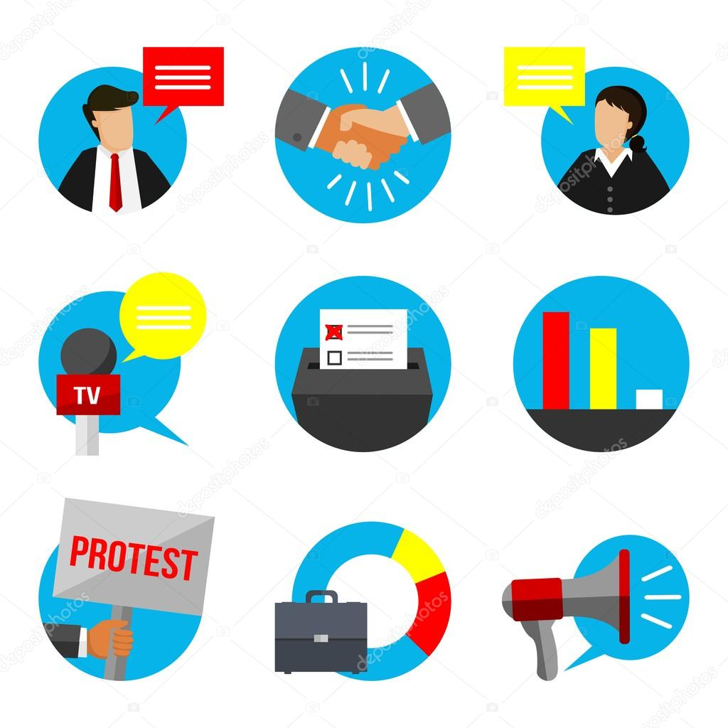 Democracy clipart voting poll. Election educational sign set